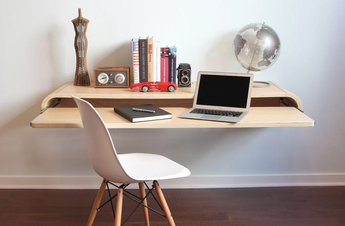Features:  -Wall mounted desk with drawer.  -Made of 25 mm plywood.  -Minimal collection.  Desk Type: -Floating desk.  Top Material: -Manufactured Wood.  Base Material: -Manufactured Wood. Dimensions: