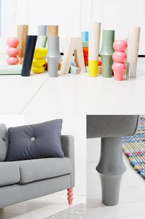 Met de pootjes van het Zweedse label Prettypegs kan je je IKEA bank heel gemakkelijk een nieuwe look geven. De pootjes, in diverse kleuren en vormen verkrijgbaar, zijn speciaal voor IKEA banken en bedden gemaakt.
