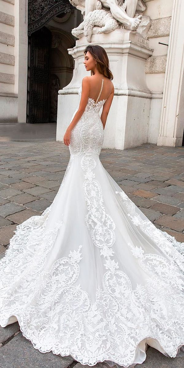 27 Mermaid Wedding Dresses You Admire ❤ mermaid wedding dresses lace illusion backless sleeveless with train crystal design ❤ See more: http://www.weddingforward.com/mermaid-wedding-dresses/ #weddingforward #wedding #bride