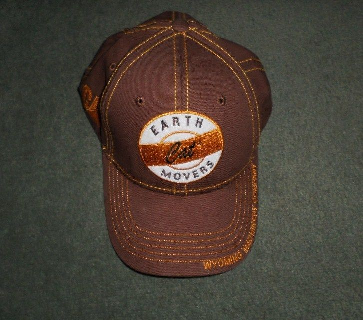 Men's Brown CATERPILLAR CAT WYOMING EARTH MOVERS Logo Hat, Adjustable Strap, GUC #CaterpillarCATOfficialProduct #BaseballCap