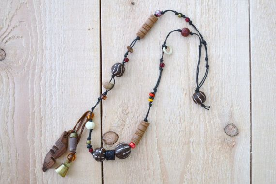 boho tribal beaded necklace - brass bell - boho, gypsy, festive, chunky, earthy, spiritual, bohemian, tribal, ritual beaded necklace