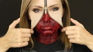 UNZIPPED ZIPPER FACE MAKEUP TUTORIAL, via YouTube.
