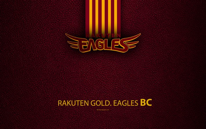 Download wallpapers Tohoku Rakuten Golden Eagles, 4K, Japanese baseball club, logo, leather texture, Sendai, Miyagi, Japan, Nippon Professional Washoowall, baseball