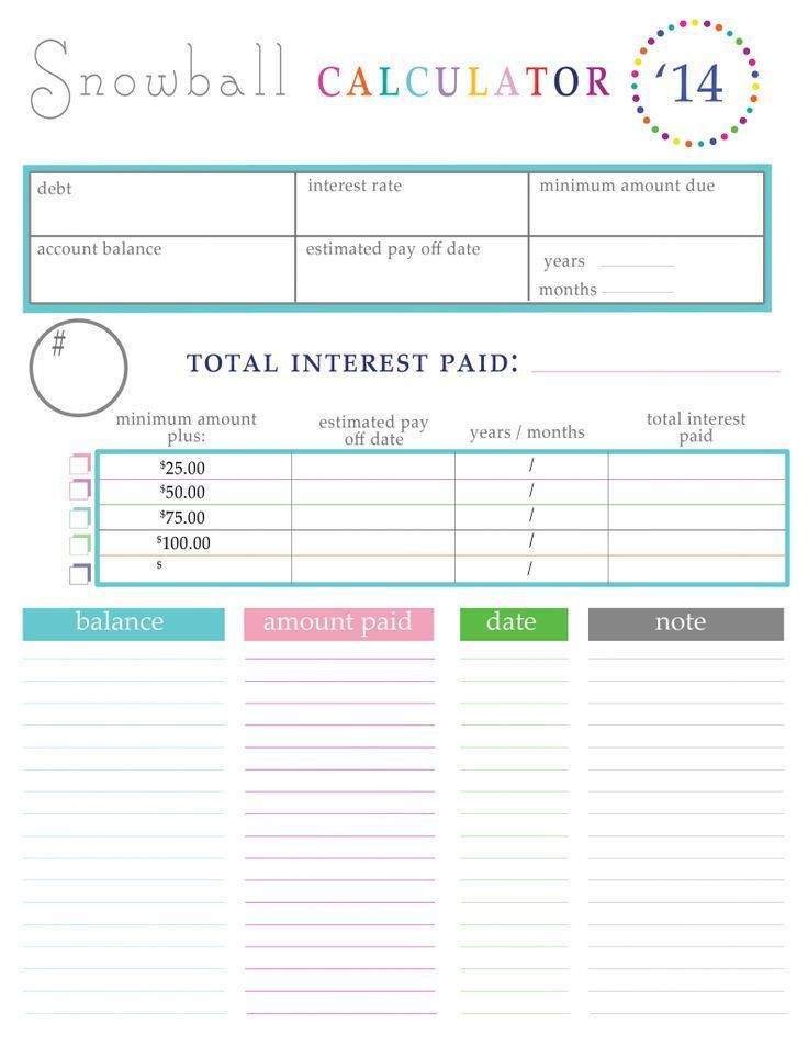 Paying off Debt Worksheets Debt