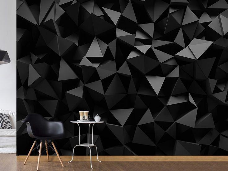 Carta da parati nera con effetto 3d.. perfetta per un salotto elegante #cartedaparati #cartadaparati #cartadaparatinera #cartadaparati3d #cartedaparati3d #wallpapers #bimago #salotto #homedecor #home #decorazioni #interni #decorazionimurali