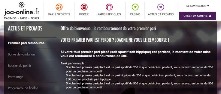 Bonus de 150€ à saisir chez Joa Online.   > http://wallabet.fr/bookmakers/joaonline/bonus-joaonline/