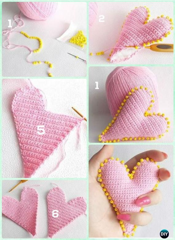 Crochet 3D Beaded Heart Free Pattern- Crochet Heart Free Patterns