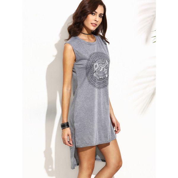 Grey Tribal Print High Low Tank Dress (£5.75) ❤ liked on Polyvore featuring dresses, grey tank top dress, high-low dresses, gray tank dress, hi lo dresses and hi low dress