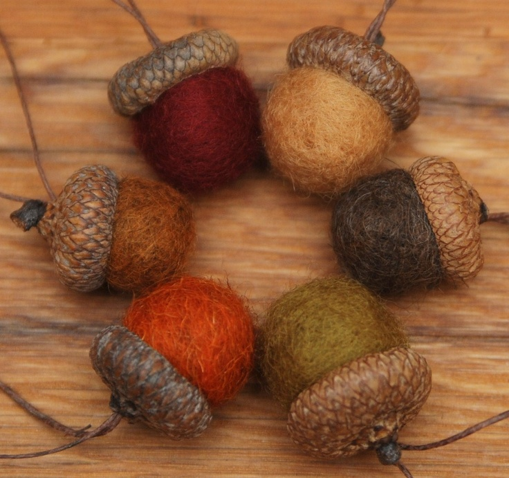 Wool Felted Acorn Ornaments, Set of 6 Fall colors, also available without hangers. $12.00, via Etsy.