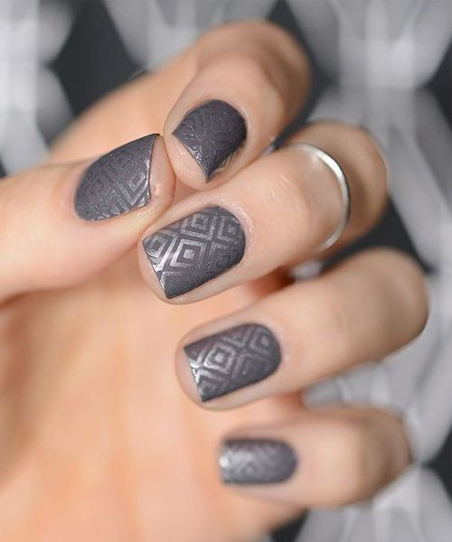 Charming Grey Nail Art Design for Women 2018