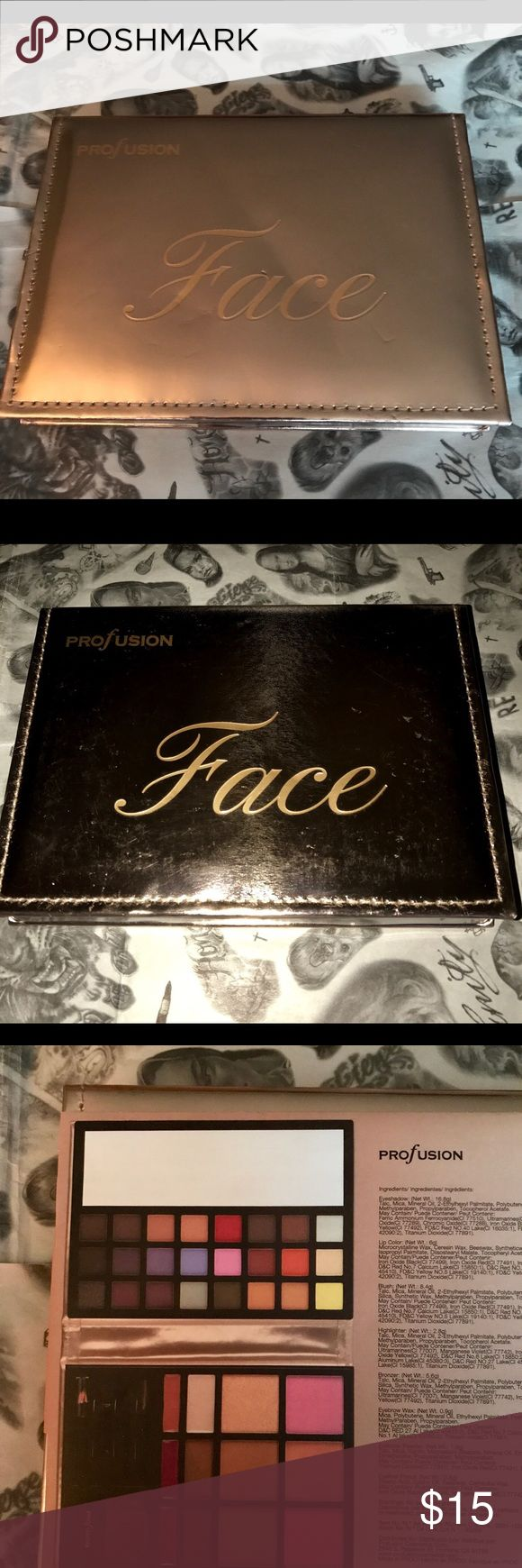 PROFUSION FACE BOOK OF MAKEUP 💄💋💞 PROFUSION FULL FACE PALETTE! 🙌🏼 This baby has it all! 24 eyeshadows in different finishes. (Matte & Metallic)  Has 3 blushes. Light pink, Warm Peach & Coral Pink! The coral pink has shimmer 😍It also has 3 Highlight/Bronzers! A champagne highlight, light bronze highlight & a shadow bronze for contouring! The champagne & light bronze highlighters are sparkling! Also comes with brow wax It has medium & Dark brown brow powder. It also has 3 Lip colors! It…