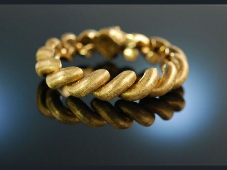 Big Sixties! Wundervolles Armband Gold 585 satinierte Glieder