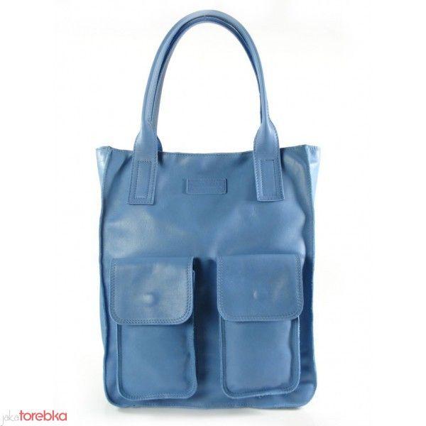 Niebieska włoska torba skórzana, odcień NIAGARA - NOWOŚĆ