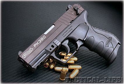 Walther PK380. Light weight gun with easy to manipulate slide. Great for new shooters and female shooters