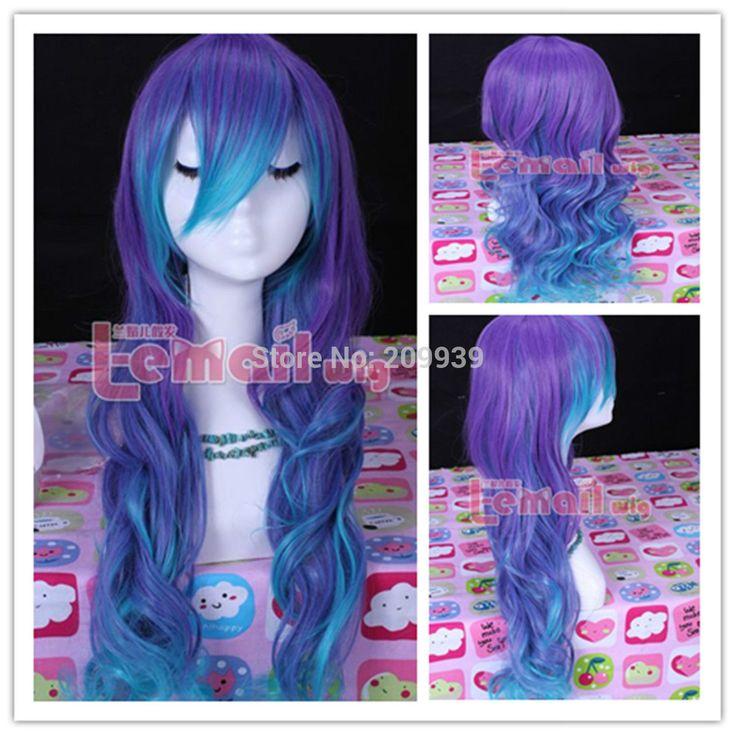 Кк 001242 синий и фиолетовый vocaloid-лука волнистые волосы парик 5.2