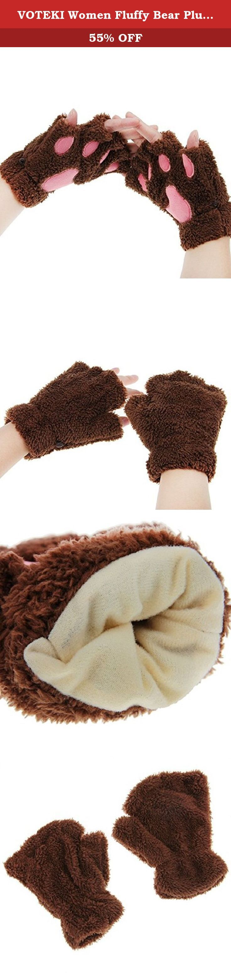 Mens novelty gloves - Voteki Women Fluffy Bear Plush Cat Paw Claw Glove Soft Winter Gloves Half Finger Cute Gloves