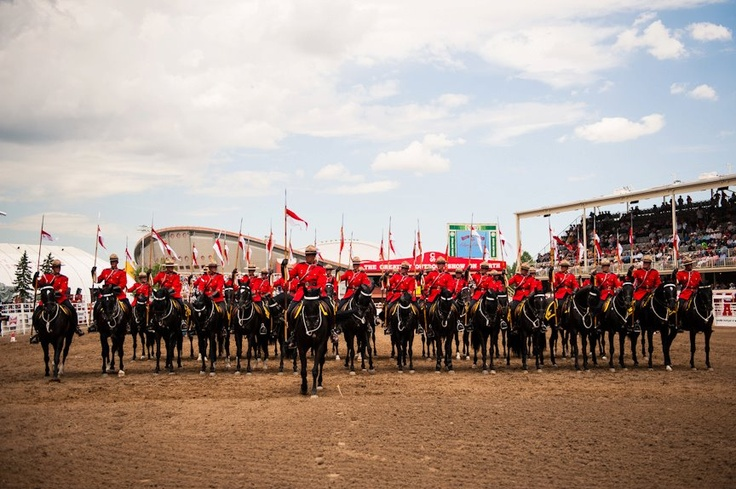 The RCMP Musical Ride opening the Rodeo. #stampede100 #summeryyc     Photo courtesy of Calgary Stampede