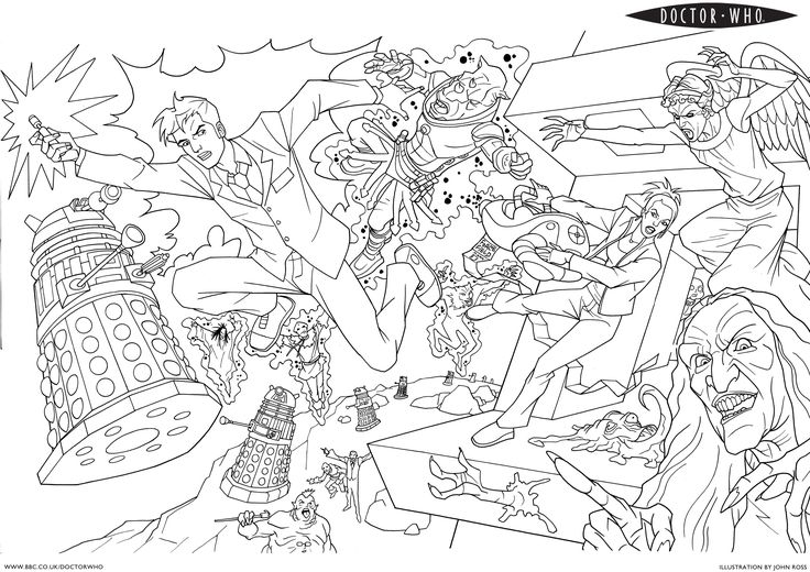 Dr Who coloring pages. Need to keep these for the Doctor Who Christmas party