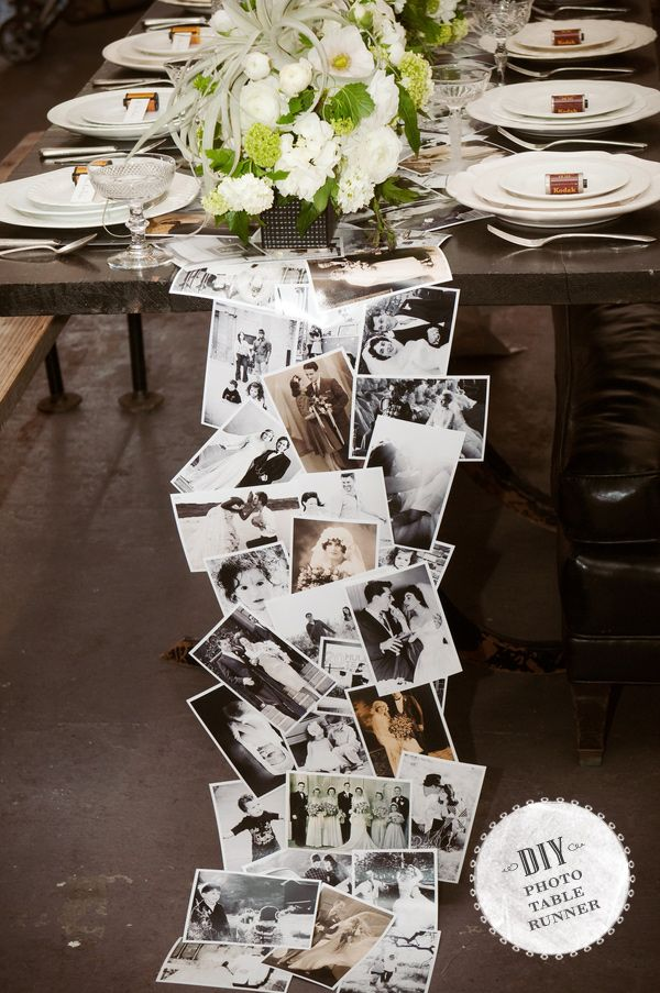 A pretty idea...would be great for a milestone wedding anniversary party. Would like to see the runner end at the table's edge, and not touch the floor though. This is could also be suspended floor to ceiling for a lovely photo installation / photo taking backdrop.
