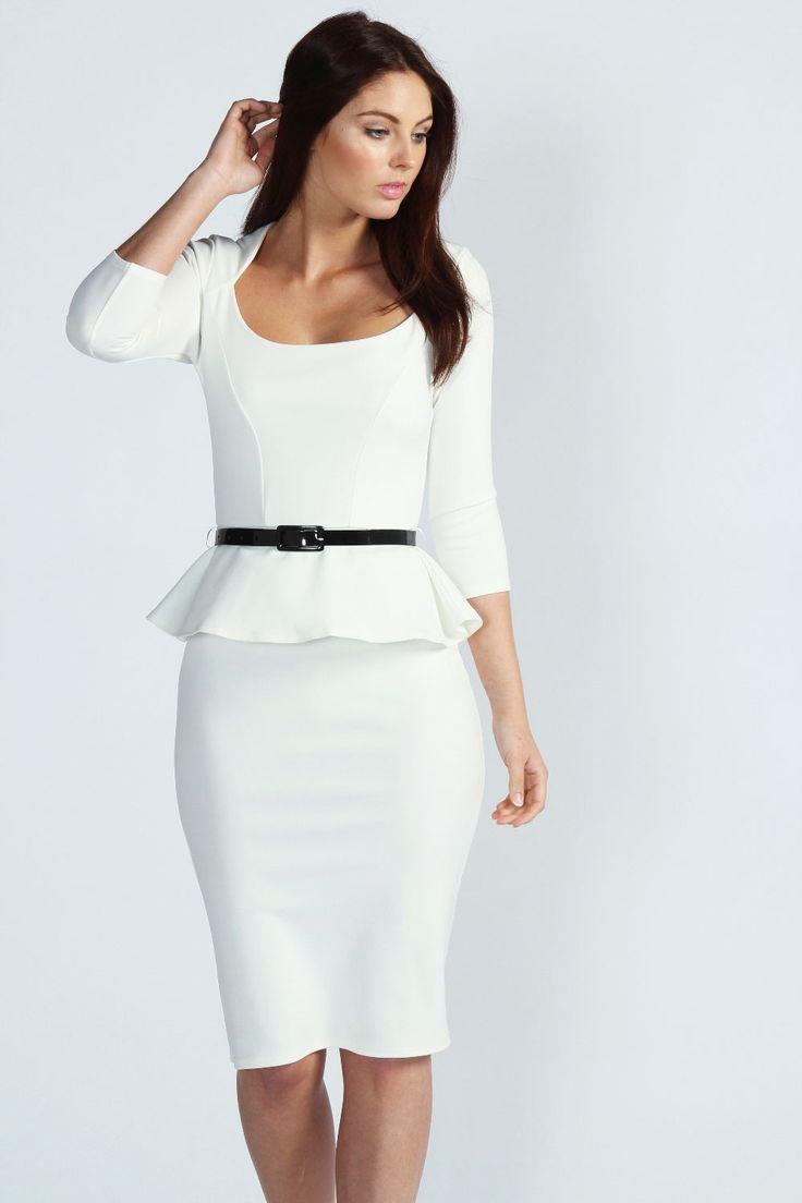 Kendal Long Sleeve Belted Peplum Midi Dress $40.00