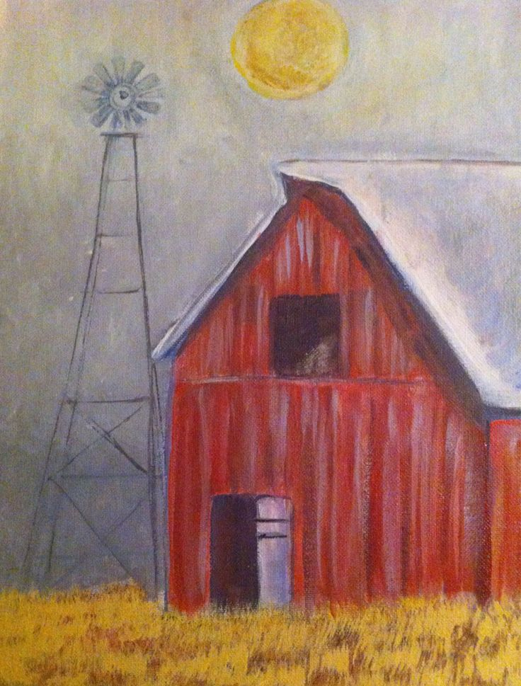 Original landscape painting Rustic decor,Country Decor Red Barn windmill / moon Farm painting by CountrypaintingsbyBL on Etsy