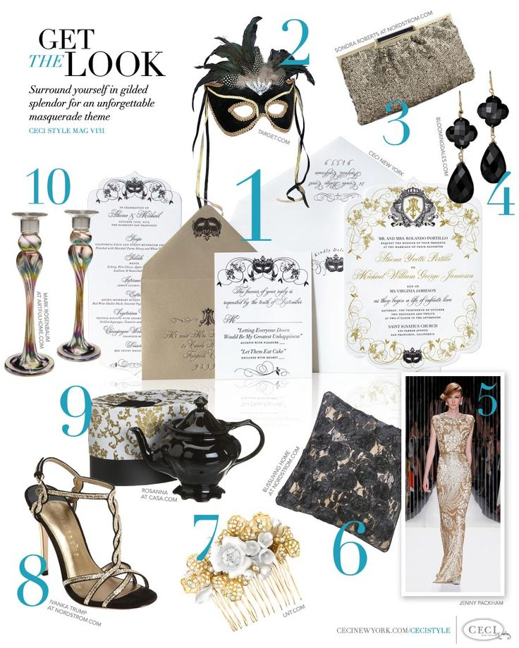 CeciStyle Magazine Get The Look   Masked And Marvelous   Surround Yourself  In Gilded Splendor For An Unforgettable Masquerade Theme   .