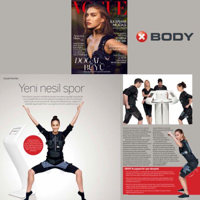 """""""XBody ile yepyeni bir spor deneyimi!""""   XBody, Vogue Dergisi'nin Şubat 2014 sayısında!"""
