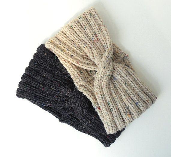 Chunky Knit Headband - Navy Tweed