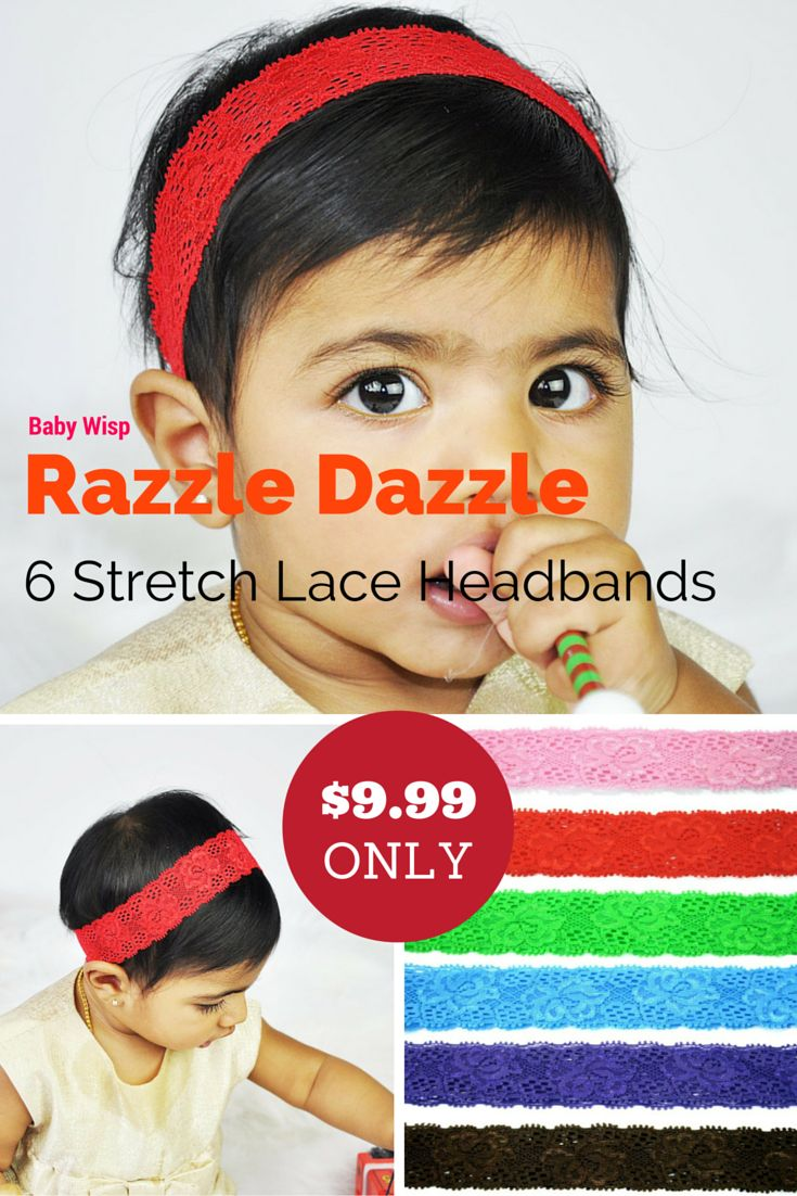 6 Stretch Lace Headbands - Razzle Dazzle  This beautiful, stretch lace headband is a perfect accessory to go with your little girl's outfits. So many different bright colors that you could make a rainbow! You can clip in flowers or bows if this classic look need more oomph for you. Now you can get 6 stretch lace headbands for only $1.65 each! You will receive a combination of these 6 headbands. Classic lace headband pack in many beautiful vibrant colors.