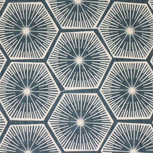 Medina Fabric A pure linen fabric featuring a retro honeycomb design printed in deepest indigo.
