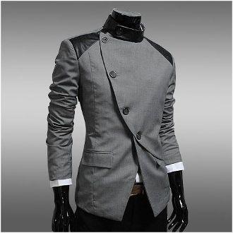 Korean style Men's Slanted Double Breasted Blazer