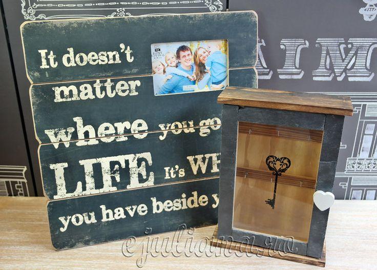 Rama foto cu mesaj cutie de chei cu piatra de ardezie