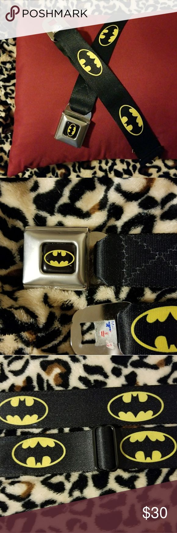 Batman Seatbelt Style Belt Very unique find! The belt is made of seatbelt material (but softer) with a seat belt buckle closure. Worn a few times, but in mint condition. Adjustable as shown in the last picture. Accessories Belts