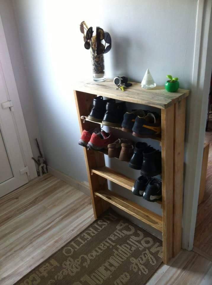 Rangement chaussure objet et meuble en palette meuble - Meuble a chaussure en bois ...