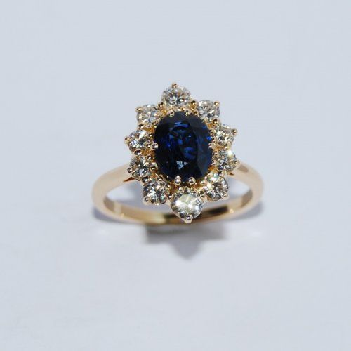 Bague marguerite saphir et diamants