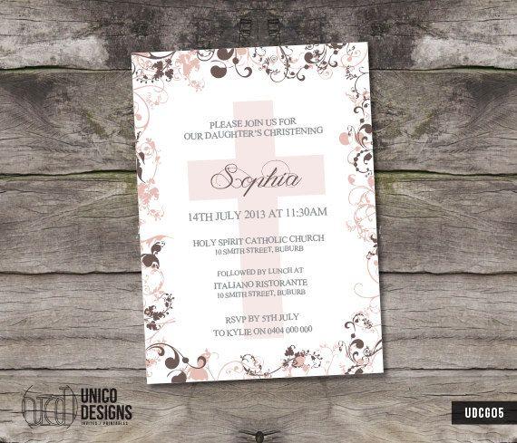 Christening Invitation Printable / Birl by UnicoDesignsInvites