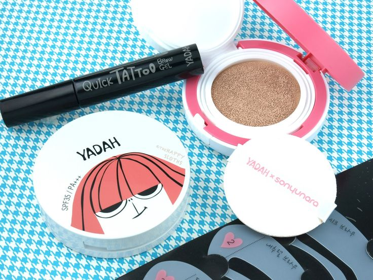 Yadah Cosmetics Review & Swatches (All Day Cushion, Air Powder Pact, Quick Tatoo Brow Gel)