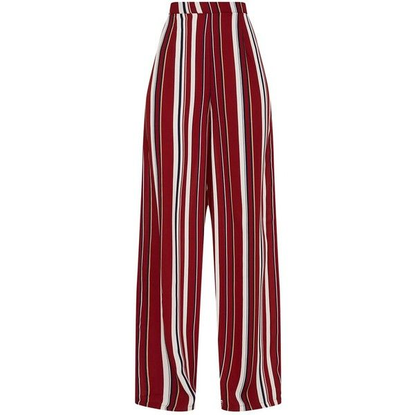 Burgundy Striped Wide Leg Trousers ($42) ❤ liked on Polyvore featuring pants, bottoms, striped pants, red wide leg trousers, burgundy pants, red stripe pants and wide leg pants