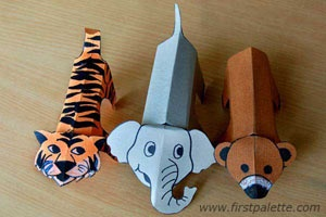 Print out, color, cut out and fold these printable zoo animals into three-dimensional paper figures.