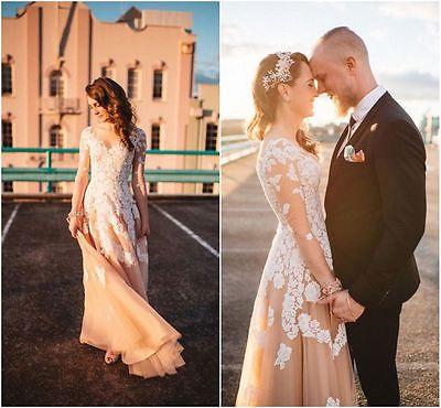 Querida Champanhe Branco Marfim Formal vestido de casamento nupcial Vestido 6 8 10 12 14