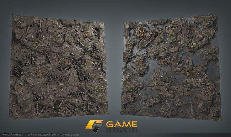 A dry, and puddly mud texture from http://www.GameTextures.com