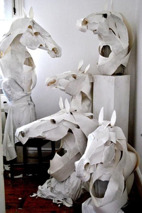 artchipel:  Anna-Wili Highfield (b.1980, Australia) - Horse Masks for Hermes. Cotton paper, ink, cotton thread, silk, copper pipe internals ...