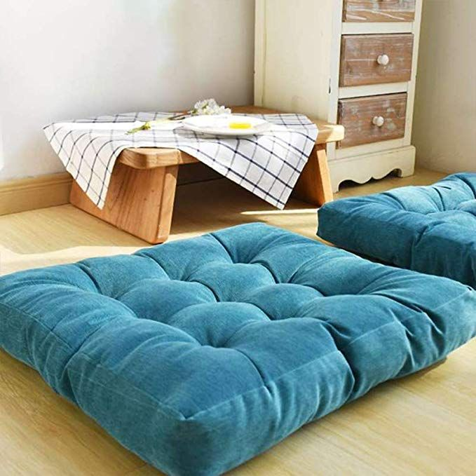 Amazon Com Egobuy Solid Square Floor Pillow Tufted Thicken Chair Pad Tatami Corduroy Seat Cushion 22x22 Square Floor Pillows Big Floor Pillows Floor Pillows