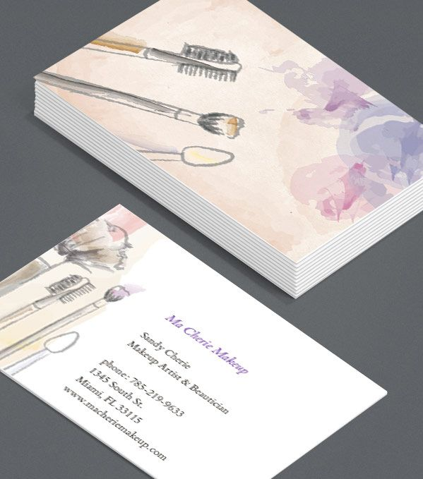Let's Kiss and Makeup: it's time to give your old Business Cards a makeover. These five hand-painted illustrations, showing the tools of the beauty trade in gloriously messy flesh-tones, are perfect for beauticians, make-up artists, or cosmetics firms. #moocards #luxebymoo #businesscard