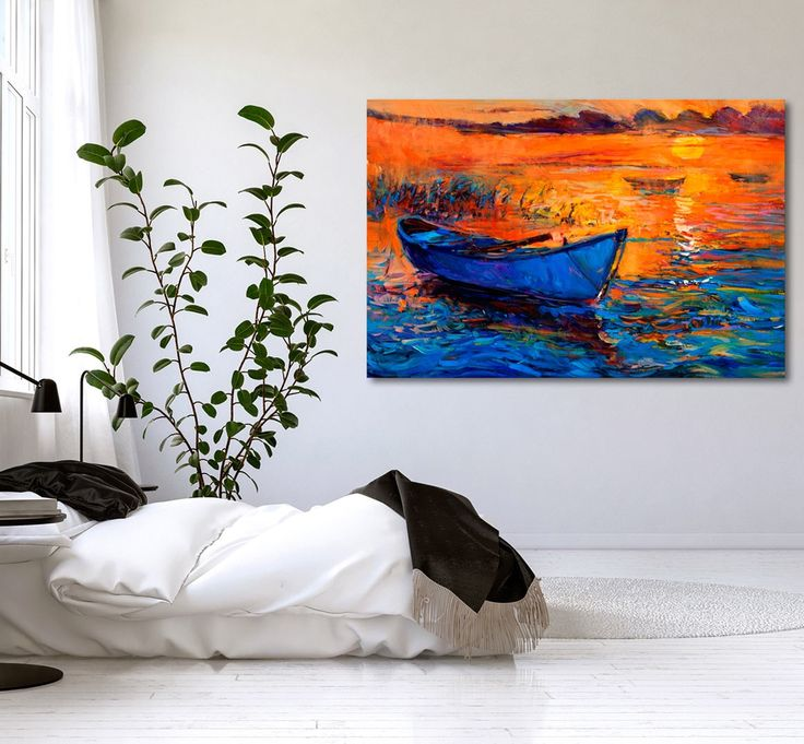 Handpainted canvas art: colourful landscape with sea motif. Check out collection of paintings in bimago online store