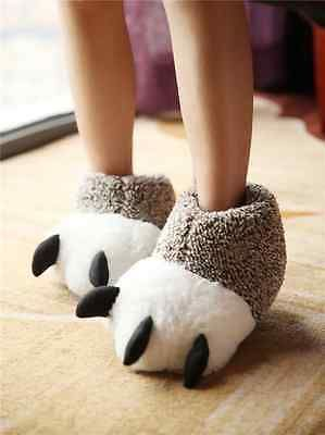 Hot Winter Women Men Home Warm Animal Claw Soft Indoor Home Cute Slippers Shoes