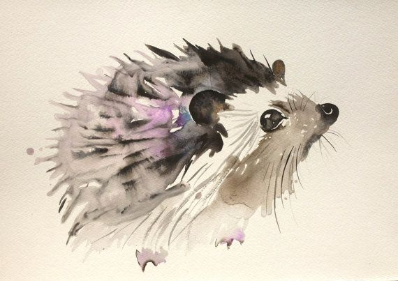 Custom animal, animal portrait original painting watercolors gouache ink art hedgehoh squirrel christmas deer antlers owl rats illustration