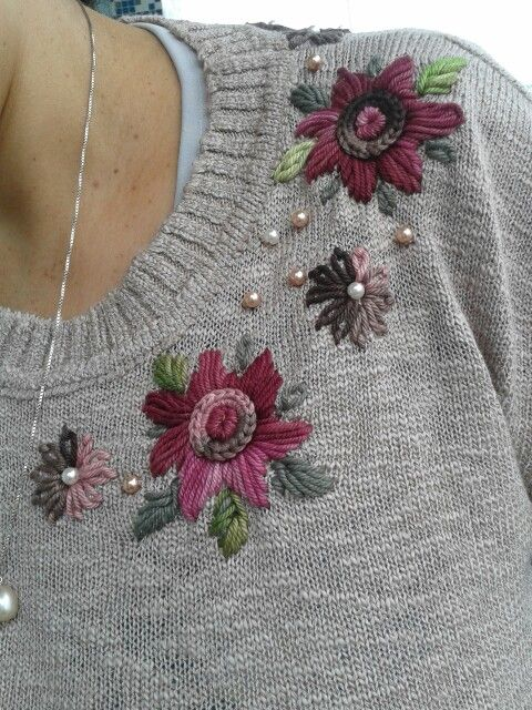 Try crewel wool embroidery on a sweater