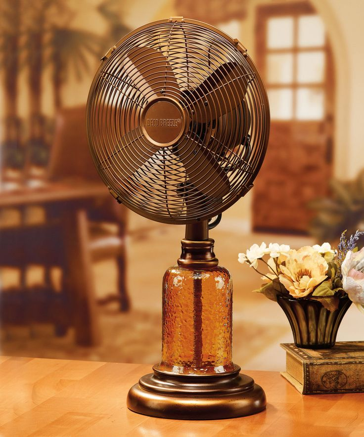 Amber Glass Metal Table Fan By DecoBreeze #