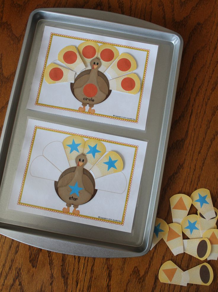 Thanksgiving activities for preschool - turkey shape sort on a cookie sheet.